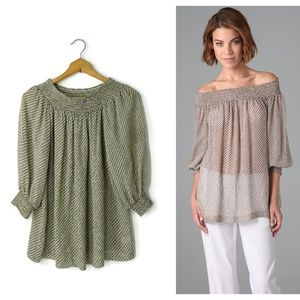 Theory Hajar Silk on-off shoulder blouse top